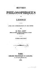 Gottfried Wilhelm Leibniz: Œuvres philosophiques de Leibniz