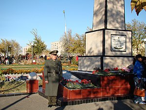 Nedelin catastrophe - An honor guard at the tomb for those killed during the test R-16 October 24, 1960, the city of Baikonur.