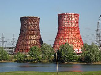Evaporative cooler - Large hyperboloid cooling towers made of structural steel for a power plant in Kharkov (Ukraine)