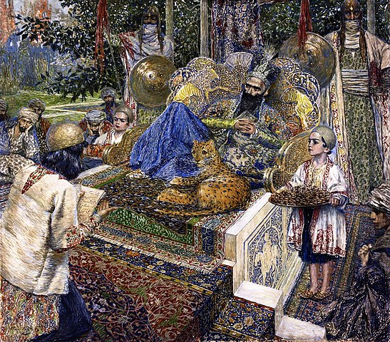 Фирдоуси читает поэму «Шах-Наме» шаху Махмуду Газневи. Картина В. Суренянца, 1913 год