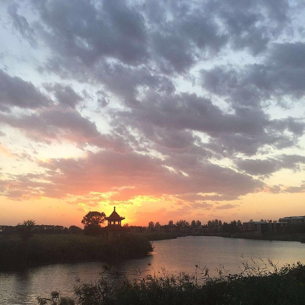 白洋淀景区的晚霞
