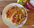 -2020-06-19 Hot dog with french fries, Trimingham, Norfolk.JPG