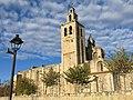 009 Monestir de Sant Cugat del Vallès, façana sud, campanar i cimbori.JPG