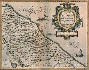 Vestini - The territory of the Vestini in a 1624 map by Philip Clüver published in Italia Antiqua.