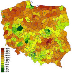 Stopa bezrobocia wg powiatów – czerwiec 2008