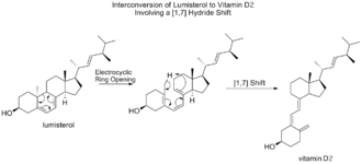 Sigmatropic reaction - conversion of lumisterol to vitamin D