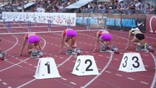 Fichier:100 m hurdles female - starting blocks.ogv