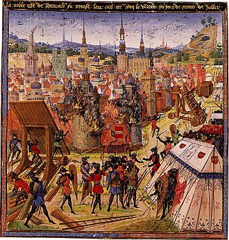 Byzantine Empire under the Komnenos dynasty - Medieval manuscript depicting the Capture of Jerusalem during the First Crusade.