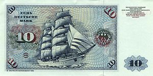 Gorch Fock (1958) - Verso of the German 10-Mark-banknote, 3rd series