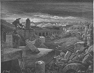 Fall of Babylon - Engraving of Isaiah's vision concerning the destruction of Babylon by Gustave Doré