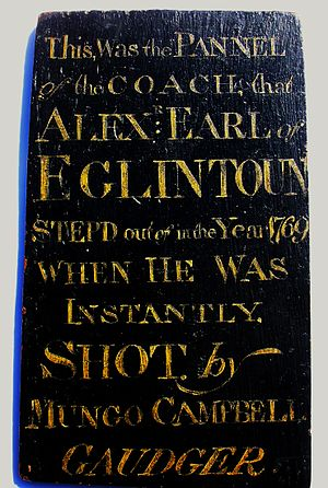Murder of Alexander Montgomerie - Section of the Earl of Eglinton's coach door with details of the murder
