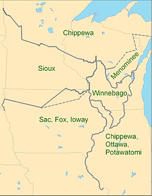 First Treaty of Prairie du Chien - Prairie du Chien Lines. Subsequent boundary modifications shown as dashed lines.