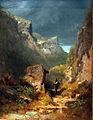 1850 Spitzweg Gebirgslandschaft mit Marterl an einem Felsen anagoria.JPG