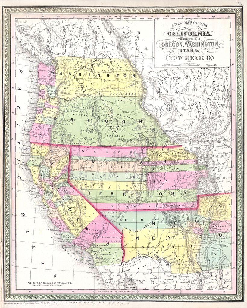 file 1853 mitchell map of california oregon washington utah
