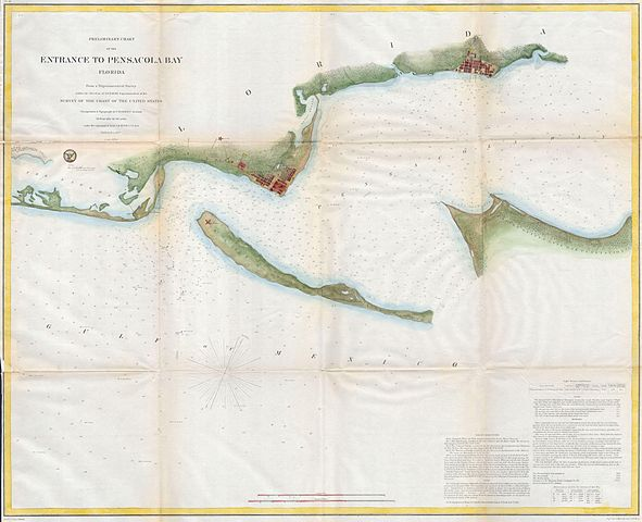 Hospital Organizational Chart: 1857 U.S.C.S. Map or Chart of Penascola Bay and Harbor ,Chart
