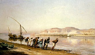 Barge Haulers on the Volga - Frederick Arthur Bridgman, Towing on the Nile, 1875.