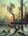 1914. Зимний пейзаж с рекой и домами.jpg
