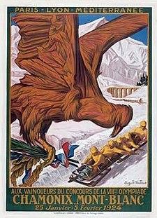 Affiche de la Ire édition des Jeux olympiques d'hiver.