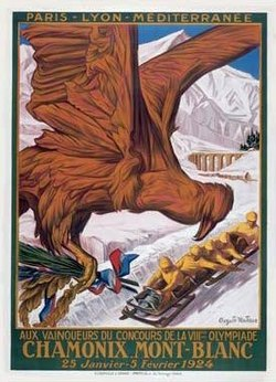 "Poster for the ""Winter Sports Week"" for the 1924 Olympics"