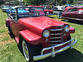 1950 Willys Jeepster 6-cylinder in red and black with open top at 2015 Macungie show 1of4.jpg