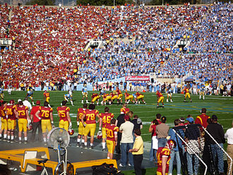 UCLA–USC rivalry - UCLA-USC football game at the Rose Bowl; the 2008 edition marked a return to the tradition of both teams wearing color jerseys.