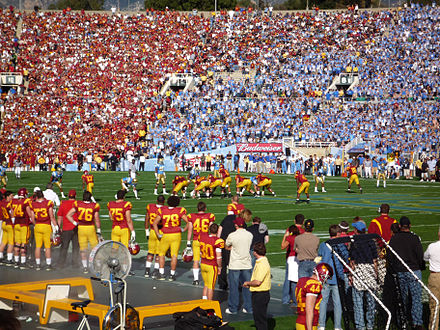 UCLA-USC football game at the Rose Bowl; the 2008 edition marked a return to the tradition of both teams wearing home jerseys 2008-1206-USC-UCLA-009-RB-redblue.JPG