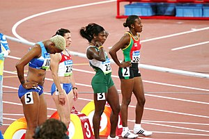 Barbados at the 2008 Summer Olympics - Jade Bailey (far left) participating in the first heat of quarterfinals in her event at Beijing
