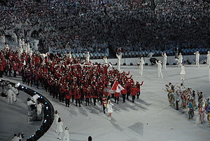 Canada at the 2010 Winter Olympics - Led by flagbearer Clara Hughes, the Canadian team enters BC Place during the opening ceremonies.