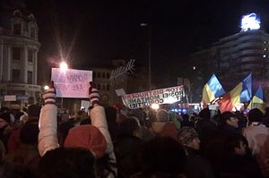 2012–15 unrest in Romania - Large demonstration in Bucharest, on 15 January
