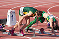2013 IPC Athletics World Championships - 26072013 - Anrune Liebenberg of South-Africa preparing for the Women's 100m - T46 first semifinal 2.jpg