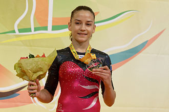 Andreea Munteanu - Munteanu with her gold medal from the 2015 European Championships.