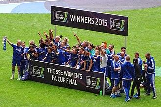 Chelsea F.C. Women - Chelsea players celebrating winning the 2014–15 FA Women's Cup win.