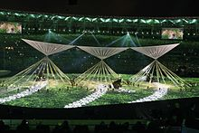 A scene from the opening ceremony of the 2016 Summer Olympics in Rio de Janeiro.