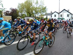 Tour de Yorkshire - The peloton passes through Wetherby, West Yorkshire on the second day of the 2017 tour.