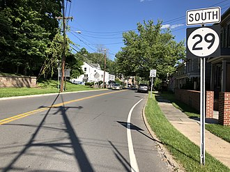 Stockton, New Jersey - Route 29 southbound in Stockton