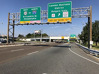 U.S. Route 30 in New Jersey - US 30 westbound on the Admiral Wilson Boulevard at the interchange with Linden Street in Camden