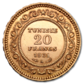 20 Tunis Franc gold coin averse.png