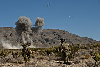 Joint terminal attack controller - U.S. Air Force Combat Control JTACs from the 21st Special Tactics Squadron call for close air support from an A-10 Thunderbolt II while attending the Air Force's JTAC Advanced Instructor Course