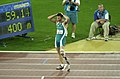 251000 - Athletics track pentathlon Don Elgin exhausted 2 - 3b - 2000 Sydney race photo.jpg