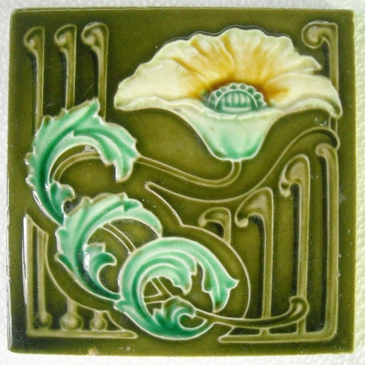 345Art Nouveau Majolica Ceramic Tiles, ca 1890 - 1910 0010
