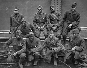 369th Infantry Regiment (United States) - Soldiers of the 369th (15th N.Y.), awarded the Croix de Guerre for gallantry in action, 1919. Left to right. Front row: Pvt. Ed Williams, Herbert Taylor, Pvt. Leon Fraitor, Pvt. Ralph Hawkins. Back Row: Sgt. H. D. Prinas, Sgt. Dan Storms, Pvt. Joe Williams, Pvt. Alfred Hanley, and Cpl. T. W. Taylor