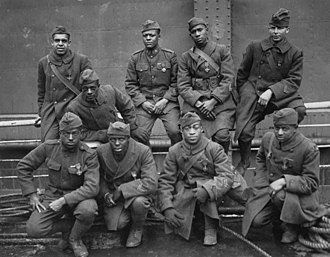 Croix de Guerre - Dougboys of the 369th Infantry Regiment posing after World War I with their Croix de Guerre medals