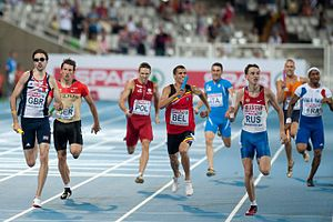 4 × 400 metres relay - 4 × 400 m men relay at the European Championships in Barcelona 2010 (Martyn Rooney (GBR), Thomas Schneider (GER), Kacper Kozłowski (POL), Jonathan Borlée (BEL), Vladimir Krasnov (RUS), Teddy Venel (FRA))