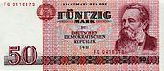 Billete de 50 marcos de la RDA con la figura de Friedrich Engels.