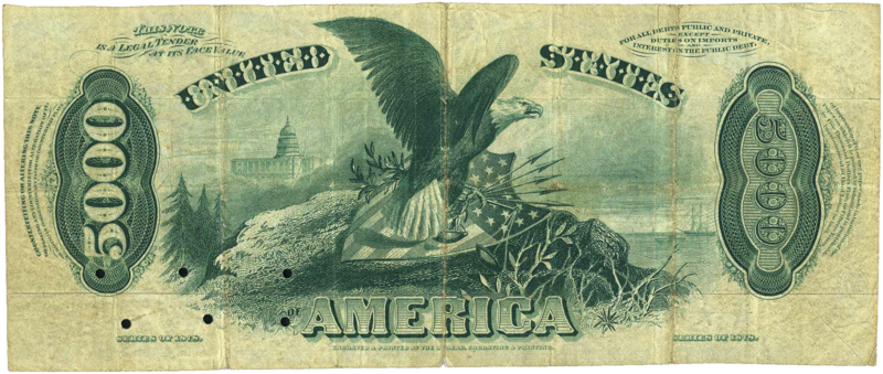 Fichier:5000 Dollar 1878 US Legal Tender reverse.png