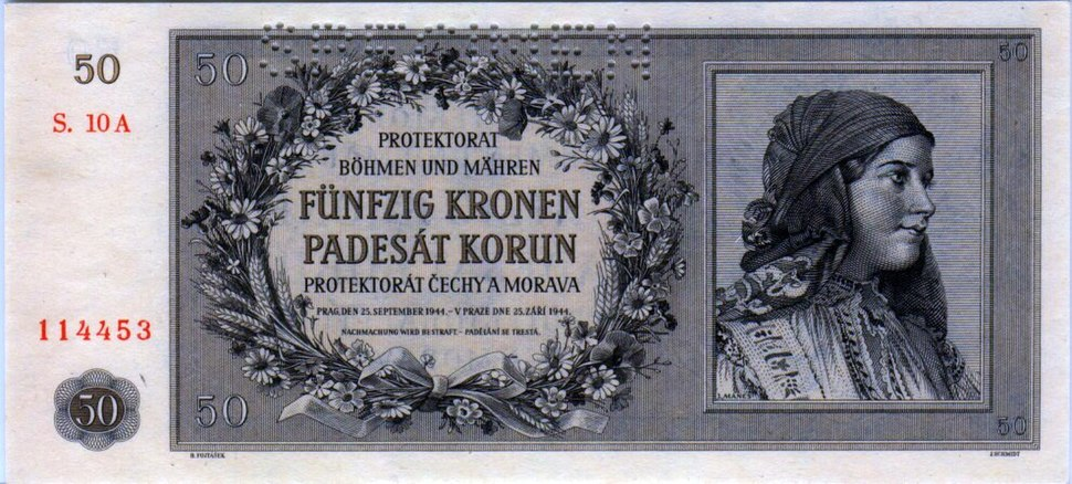 50 Crowns of the Protectorate of Bohemia and Moravia (1944)