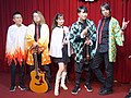 5 people standing on the stage with Demon Slayer cosplay clothing 20210321e.jpg