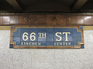 66th Street–Lincoln Center (IRT Broadway–Seventh Avenue Line) - Name tablet