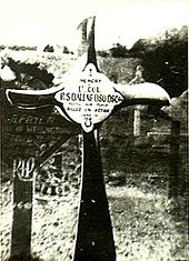 "Crucifix, made from an aeroplane propeller, in a cemetery. The inscription reads ""Lt. Col. R.S. Dallas DSO DSC ... Killed in Action"""