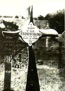 "Crucifix, made from an aeroplane propeller, in a cemetery. The inscription reads ""Lt. Col. R.S. Dallas DSO DSC ... Killed in Action"" 1 June 1918"